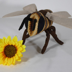 Vintage Buzz Caramel & Cocoa Stripe Honey Bee Fabric Wire Soft Sculpture