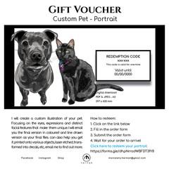Custom Pet Coloured Portrait  | GIFT VOUCHER