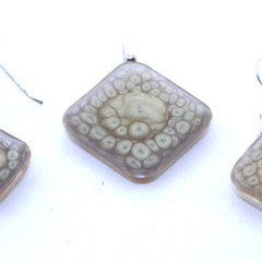 Hand Painted Ultra-modern Earrings and Pendant