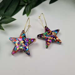 Rainbow Pop Star - Button - Glitter Hoop Dangle earrings
