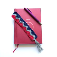 Crocheted cotton wave pattern bookmarks in a variety of colours