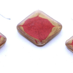 Hand Painted Interesting Tan and Red  Earrings and Pendant