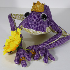 Passionate Purple Frog Prince Fabric Wire Soft Sculpture