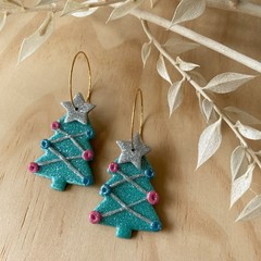 Christmas Trees with Star on Hoops in Silver, Pink, Blue and Aqua Green Glitter