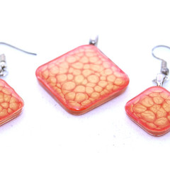 Hand Painted Tan and Red Earrings and Pendant