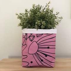 Large fabric planter | Storage basket | Pot cover | PINK FLORAL