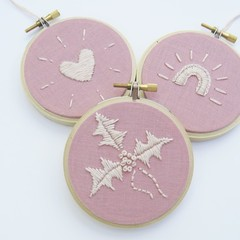 DIY Kit LOVE-HOPE-JOY Christmas mini hoops set (kids & beginners friendly)