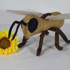 Vintage Buzz Honey Bee Fabric Wire Soft Sculpture