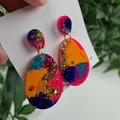 Sunset Teardrop - Glittering - Drop Resin - Stud Dangle earrings
