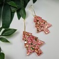 Fizz Gold and Pink Christmas Tree - Button - Glitter Dangle earrings