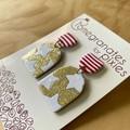 Christmas Star and Stripe Dangle Earrings in Gold Glitter