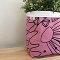 Large fabric planter | Storage basket | Pot cover | PINK FLORAL