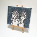 Headline Series : Twins Maisy and Daisy Original Ink on Canvas