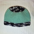 Mint green and grey baby beanie