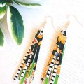 Stacked Tassel, Genuine Leather Earrings, Green/ Floral