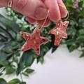 Fizz Gold and Pink Star - Button - Glitter Hoop Dangle earrings