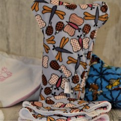INCL POST Butterfly Minky Hooded Baby Towel Set in Bamboo & Poly