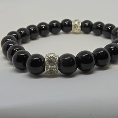 Glossy black beaded bracelet with crystal findings