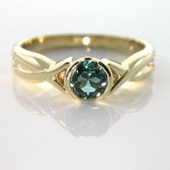 Solid 9ct Yellow Gold Natural Sapphire and Diamond Dress Ring