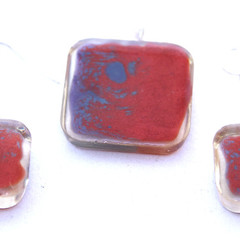 Mainly Red with Blue and Clear Pendant Set