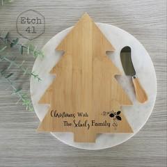 Personalised Bamboo Christmas Tree Cheese board set