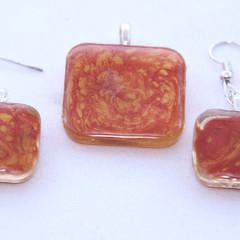Red and Orange Swirl  Pendant Set