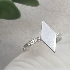 Rhombus Ring. Thin Sterling Silver Ring with Floral Band. Recycled Silver Ring.