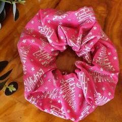 "Christmas Scrunchy ""Pink/Silver"""