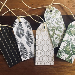 Botanical Themed Gift Tags - Palms, Ferns and Organic Prints - Set of 10