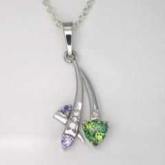 9ct Solid White Gold Australian Sapphire and Diamond Pendant