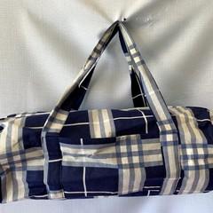 Navy Check Duffel Bag