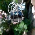 Black Tourmaline & Opal pendant, Sterling silver wire wrapped