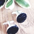 Cufflinks, Genuine Leather, Black/Silver