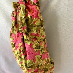 Pink and Yellow Floral Large Drawstring Duffel