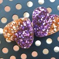 Heart Stud Earrings - Rose Gold and Royal Purple Glitter