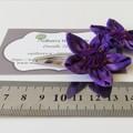 Purple Hair Clips - Fabric Flower Hair Snap Clips