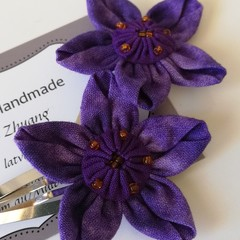 Purple Hair Clips - Fabric Flower Hair Snap Clips
