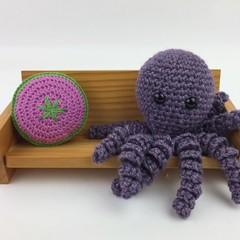 Crochet Octopus Softie  Toy   Wool Bamboo  Gift Idea   Hand Crocheted   Amethyst