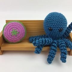 Crochet Octopus Softie   Toy   Wool Bamboo   Gift Idea   Hand Crocheted   Teal
