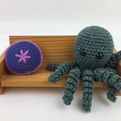 Crochet Octopus Softie   Toy   Wool Bamboo   Gift Idea   Hand Crocheted   Green