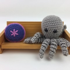 Crochet Octopus Softie  Toy   Wool Bamboo   Gift Idea   Hand Crocheted   Natural