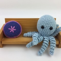 Crochet Octopus Softie   Toy   Wool Bamboo   Gift Idea   Hand Crocheted   Topaz