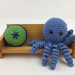 Crochet Octopus Softie   Toy   Wool Bamboo   Gift Idea   Hand Crocheted   Blue