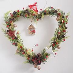 Light up Heart shape Wreath - Christmas Gift - Home Decoration