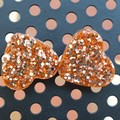 Heart Stud Earrings - Rose Gold Glitter