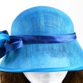 ZIANA Turquoise Cloche with satin cobalt blue and turquoise trim
