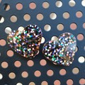 Heart Stud Earrings - Midnight Glitter