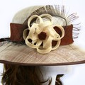 ZIELISSA - Brown and Cream Upturned Brim Domed Crown Hat