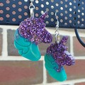 Unicorn Drop Earrings - Jade & Royal Purple Glitter
