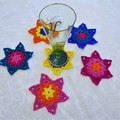 Set of 6 Crochet Star Coasters